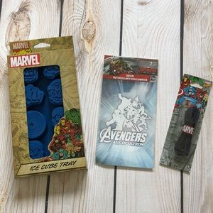Marvel ice cube tray, decal, and shoelaces